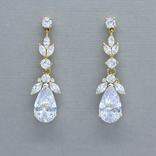 Gold Teardrop Crystal Earrings, CLEO