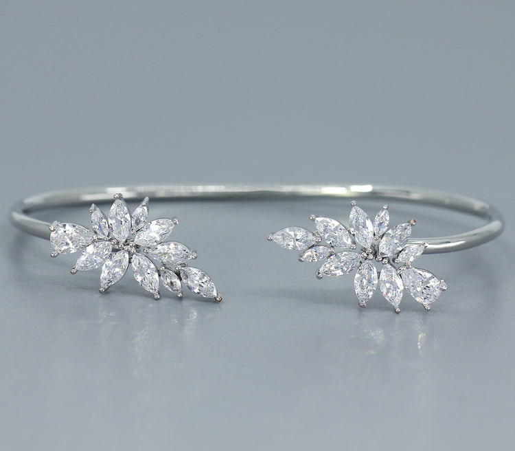 White Gold Crystal Bangle  PHOEBE