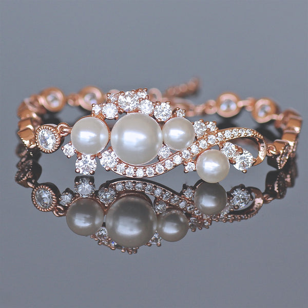 Rose Gold Crystal Pearl Bracelet - Tilly