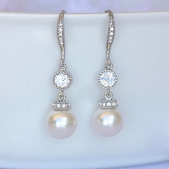 SISSY Pearl Necklace and Earrings Set in White Gold