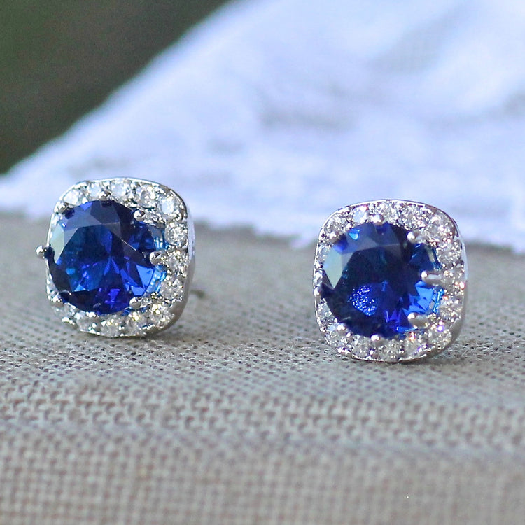 Sapphire Crystal Bridal Stud Earrings, RIKKI