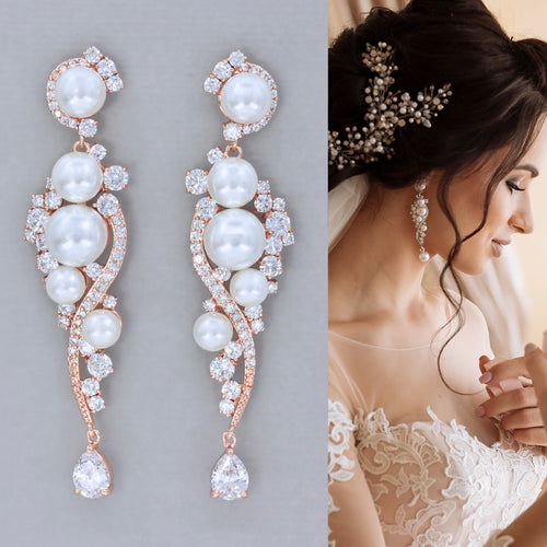 Rose Gold Long Wedding Earrings - TILLY