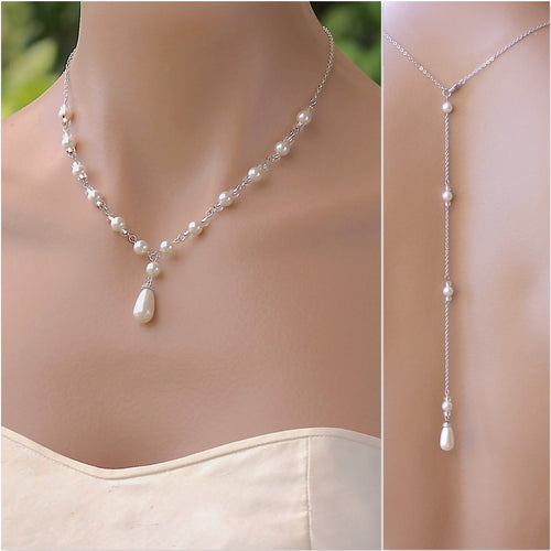 Pearl Back Drop Necklace, VANESSA