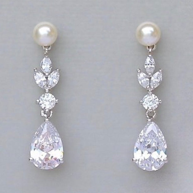Crystal and Pearl Bridal Earrings, ASHLEY PP