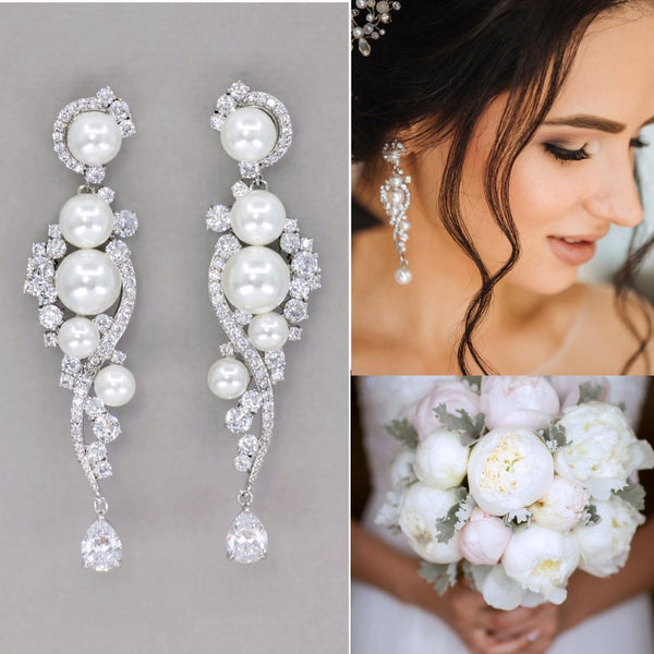Crystal and Pearl Chandelier Silver Earrings, TILLY