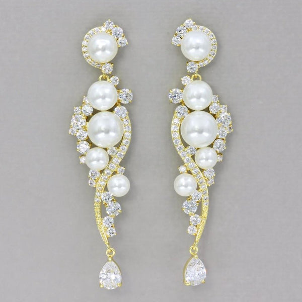 Gold Crystal and Pearl Chandelier Earrings, TILLY