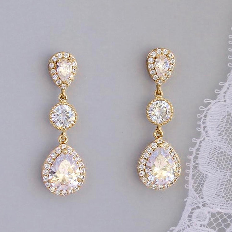Gold Teardrop Crystal Earrings, TAMARA 1