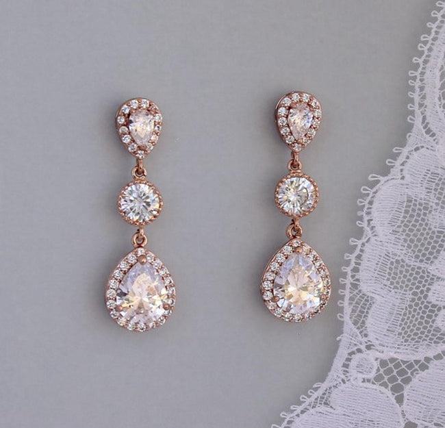 Rose Gold Teardrop Crystal Earrings, TAMARA 1