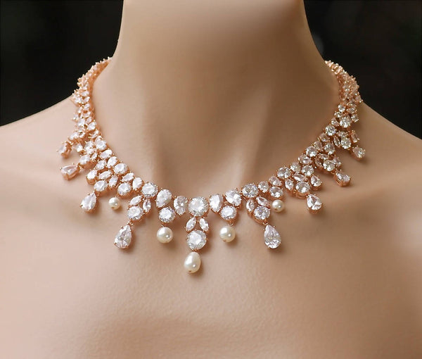rose gold bridal necklace