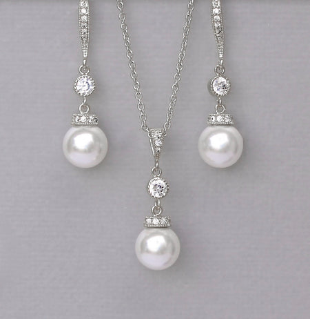 Delicate Pearl Necklace & Earrings Set in White Gold SISSY