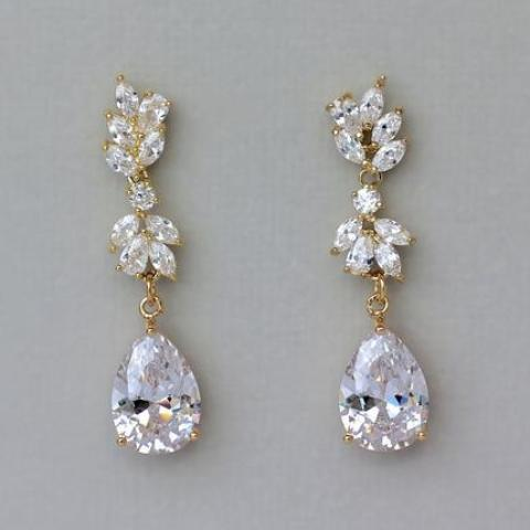 Gold Crystal Chandelier Earrings, ANNIE