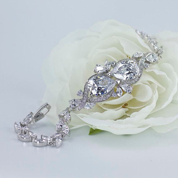 Tear Drop Crystal Bridal Bracelet, RIBBON