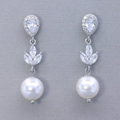 Crystal & Pearl Wedding Earrings, HAYLEY RP