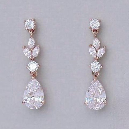 Rose Gold Bridal Earrings, ASHLEY RGC