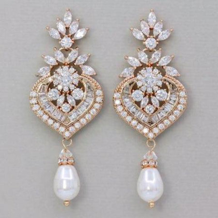 Rose Gold Chandelier Bridal Earrings, Taylor RG