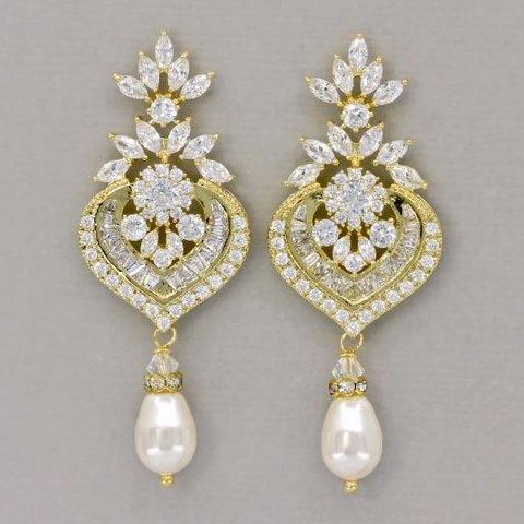 Gold Crystal Chandelier Wedding Earrings, Taylor G
