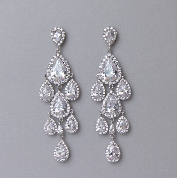 Silver Crystal Chandelier Earrings, TAMARA