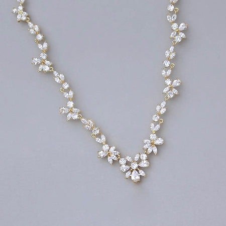 Pearl Backdrop Necklace with Crystal Pendant, BRIGITTE