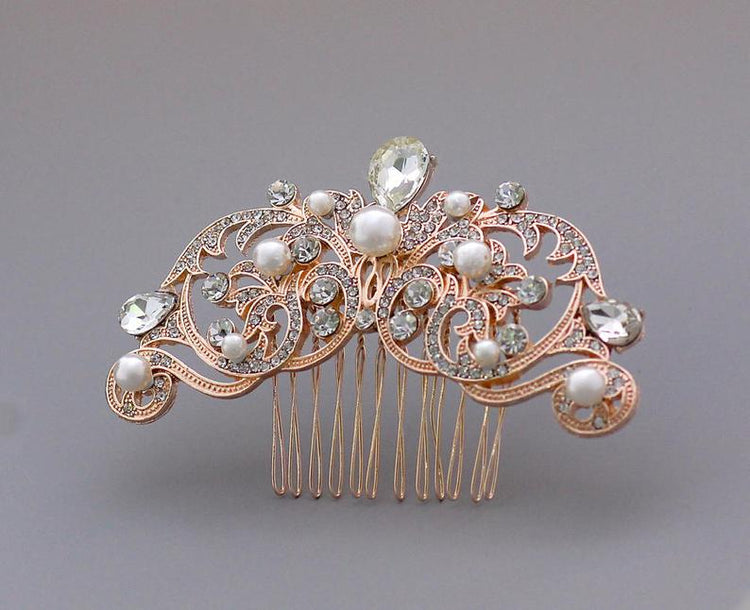 Rose Gold Vintage Wedding Hair Comb, ROCIO