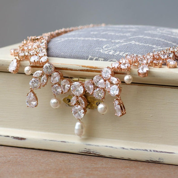 Statement Rose Gold Crystal Necklace, JULIETTE