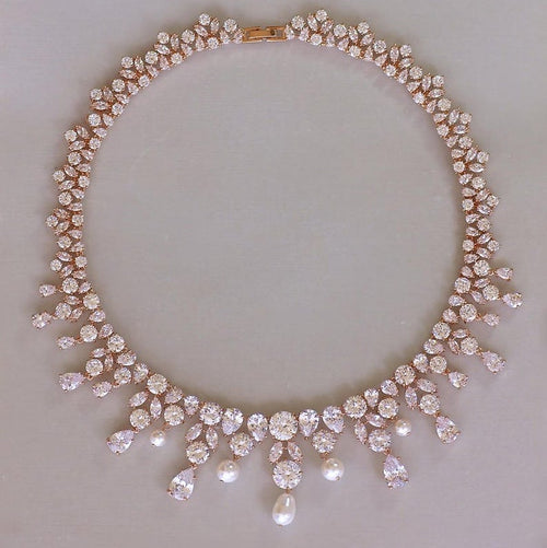statement rose gold crystal necklace