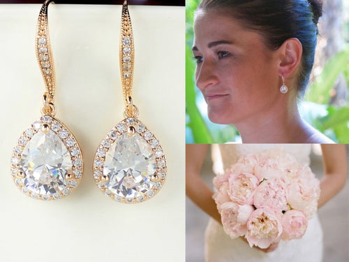 Gold Teardrop Wedding Earrings, TAMARA HD