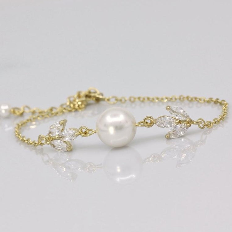 Gold Dainty Crystal and Pearl Bracelet, Hayley