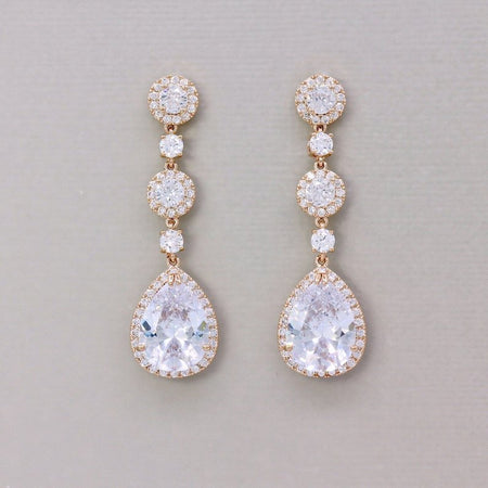 Rose Gold Long Crystal Earrings, BRIGITTE C