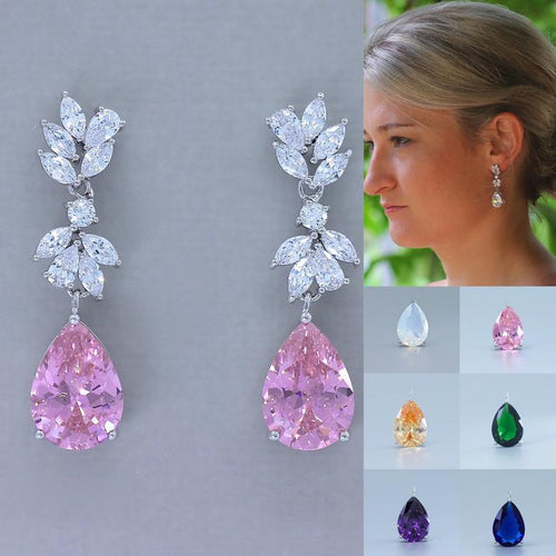 Pink Blush Crystal Earrings, Sapphire, Emerald, Amethyst, Opal, Honey Topaz Crystal Jewelry ANNIE C