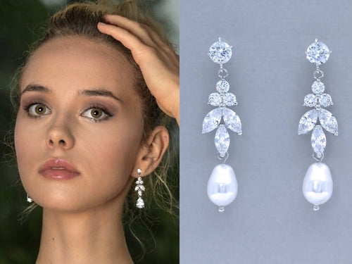 Crystal Marquise & Teardrop Bridal Earrings, Crystal Pearl Drop Dangle Earrings, CZ Bridesmaids Earrings, DENISE C