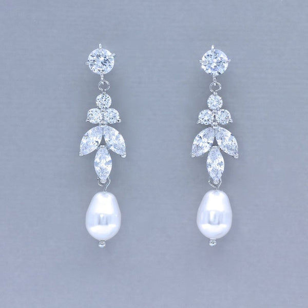 Silver Crystal and Pearl Drop Earrings, DENISE
