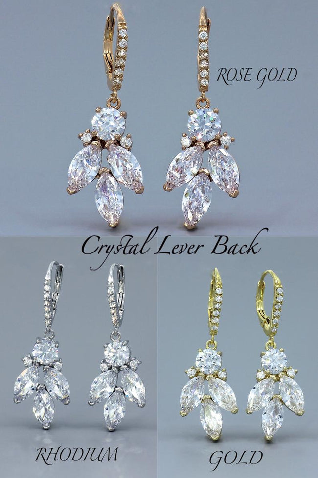Gold Crystal Drop Earrings, DARCY