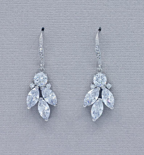 Crystal Marquise Bridal Earrings White Gold, Silver Tone Leafy Zircon Drop Earrings, Rhodium Crystal Bridal Wedding Jewelry DARCY