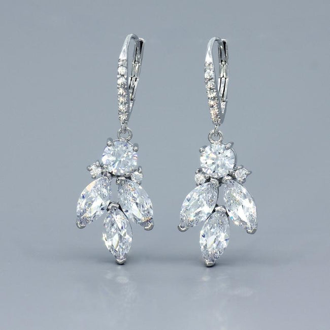 crystal earrings white gold