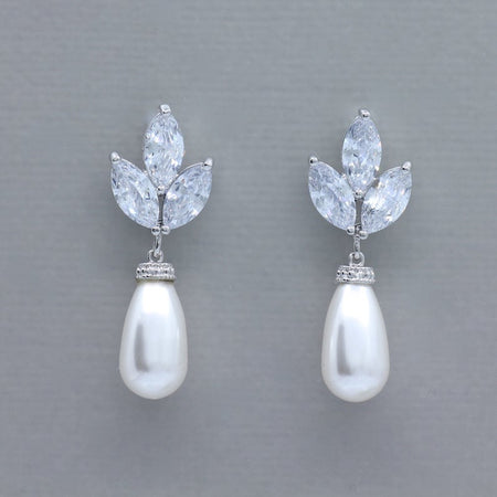 Crystal and Pearl Drop Bridal Earrings
