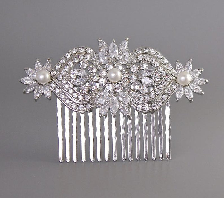 Deco Crystal Bridal Hair Comb, TAYLOR