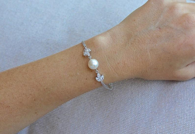 Dainty Crystal and Pearl Bracelet in Rose Gold, Hayley
