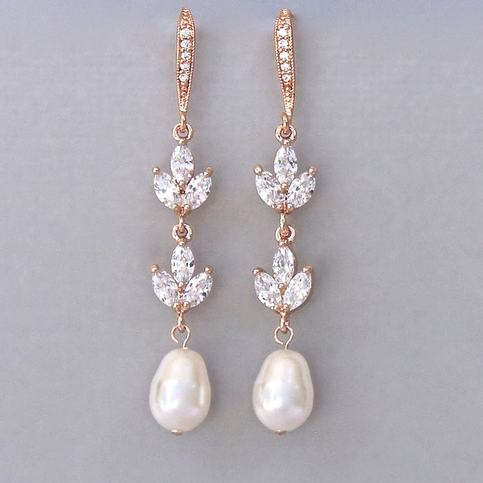 Crystal and Pearl Drop Earrings in Gold, Rose Gold, White Gold, HAYLEY