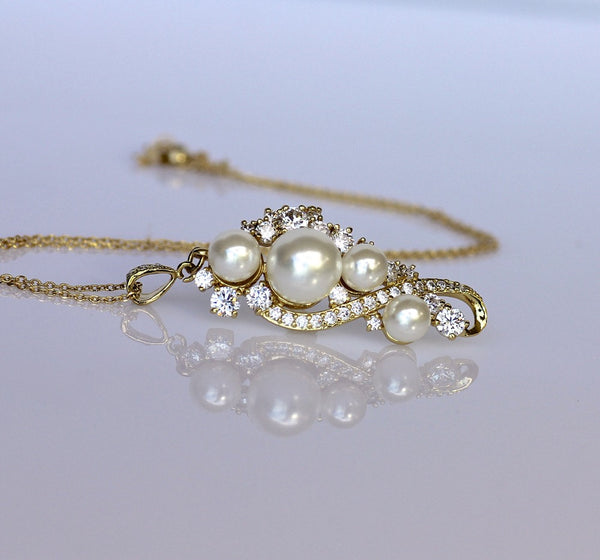 crystal pearl necklace gold