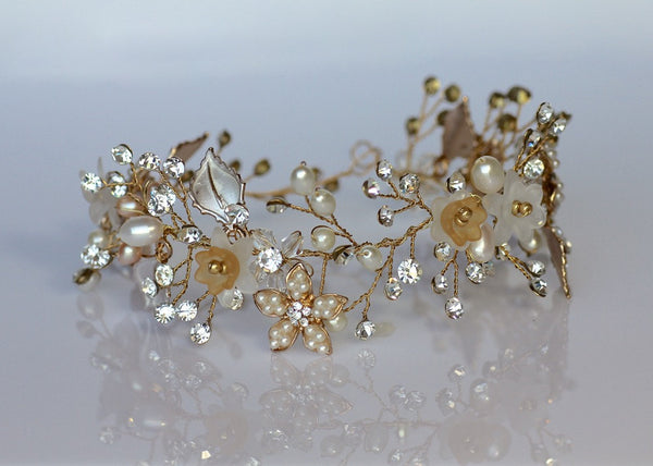 Pearl and Crystal Bridal Hair Vine, ZARA