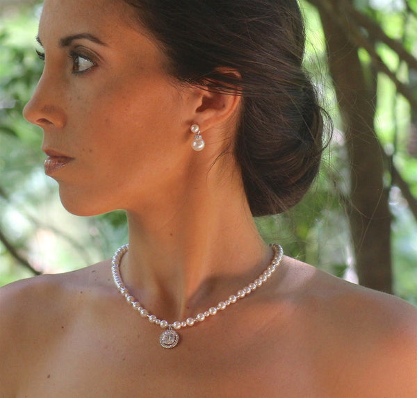 Round Crystal Wedding Back Drop Necklace, BRIGITTE