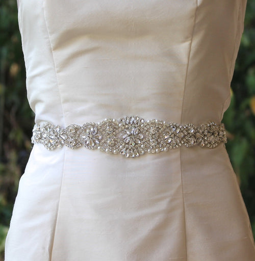 Wedding Dress Silver Crystal Sash, ALOHA Long