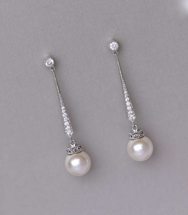 White Gold Pearl Drop Earrings, DANIELLE