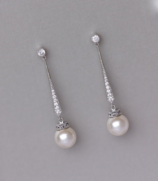 White Gold Pearl Drop Earrings, DANIELLE S