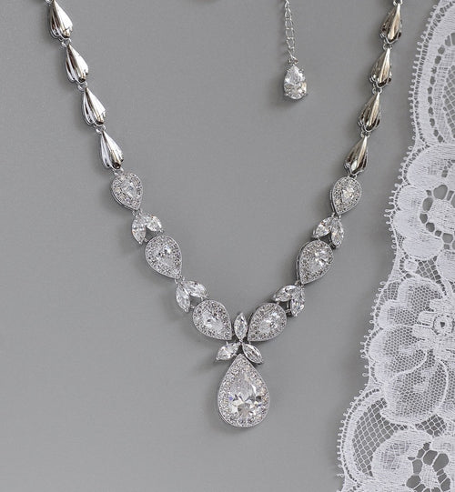 Teardrop Crystal Necklace, LULU N