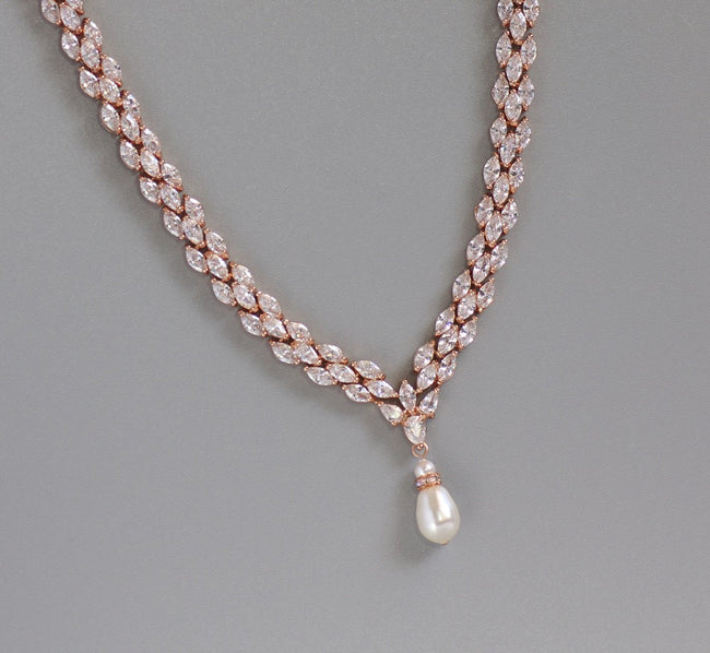 Rose Gold Crystal Necklace, FELICITY RGP