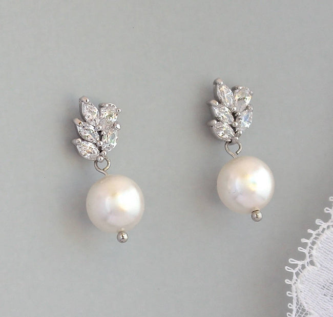 Ivory Pearl and Crystal Earrings, LILIANNE