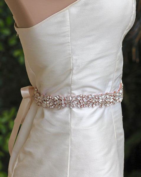 Rose Gold Blush Bridal Belt, AMOUR RG LONG