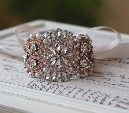 Rose Gold Crystal Beaded Cuff, COLLETTE 2
