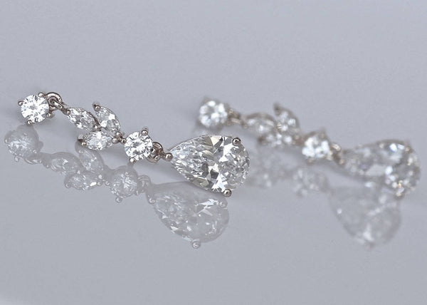 Crystal Teardrop Earrings, ASHLEY
